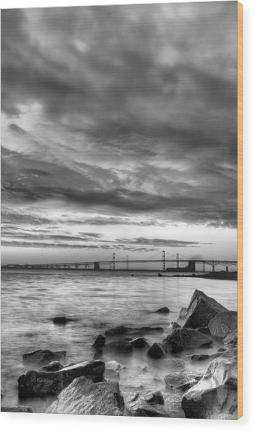 Chesapeake Mornings Bw Wood Print