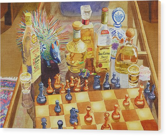 Chess And Tequila Wood Print