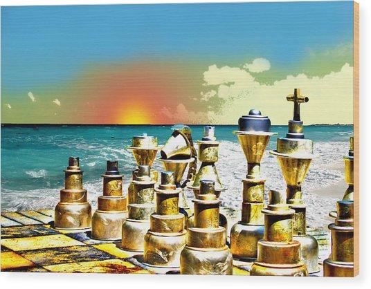 Chess On Beach Wood Print by Frank Savarese