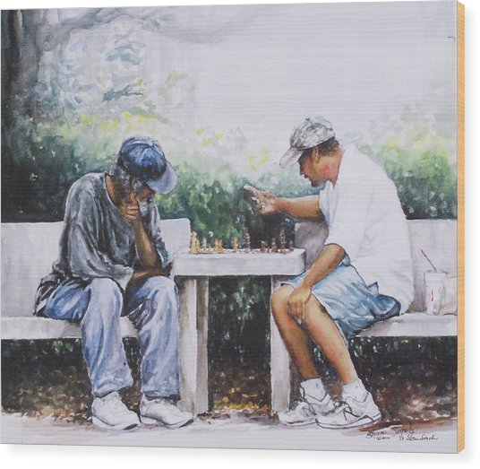 Chess Players Wood Print