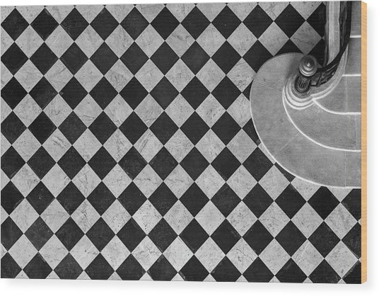 Chessboard Staircase Wood Print