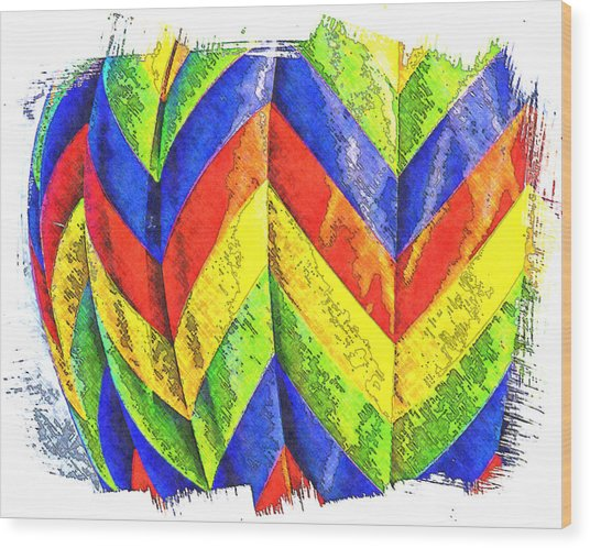 Chevons Of Color Wood Print by Ken Evans