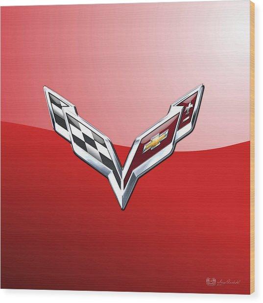 Chevrolet Corvette - 3d Badge On Red Wood Print