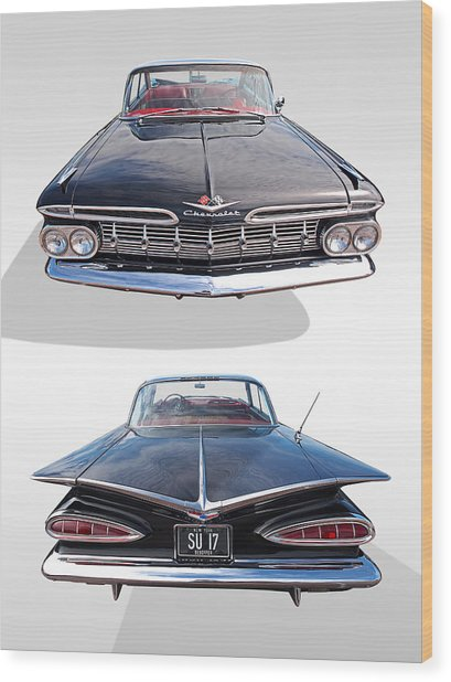Chevrolet Impala 1959 Front And Rear Wood Print