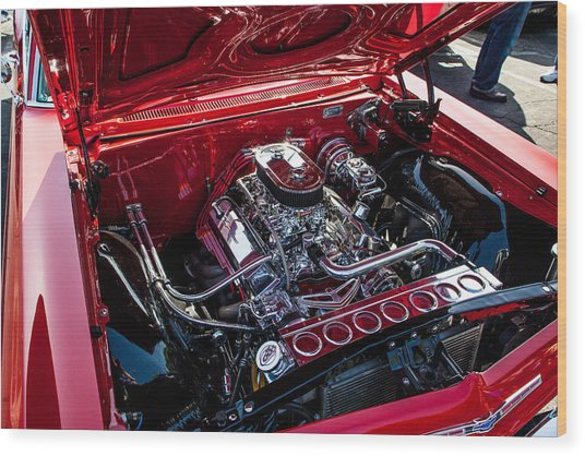 Chevy Chrome Wood Print by John Crowe