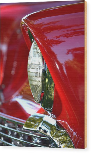 Chevy Headlight Wood Print