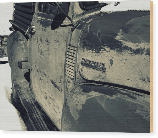Arroyo Seco Chevy In Silver Wood Print