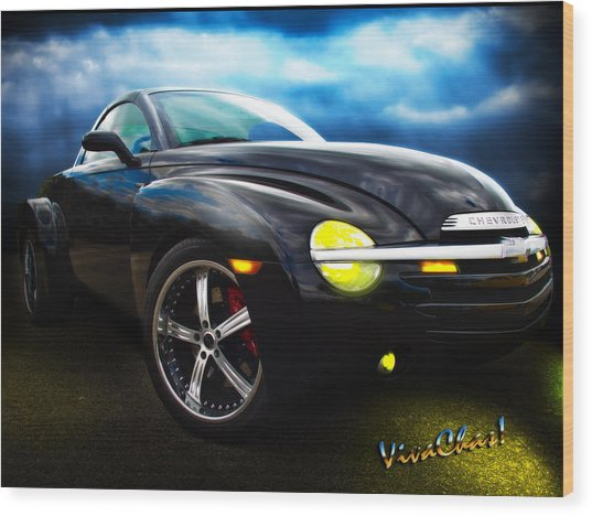 Chevy Ssr Night Life Hot Rods Live Lives All Their Own Wood Print