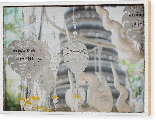 Chiang Rai Temple Wood Print by River Engel