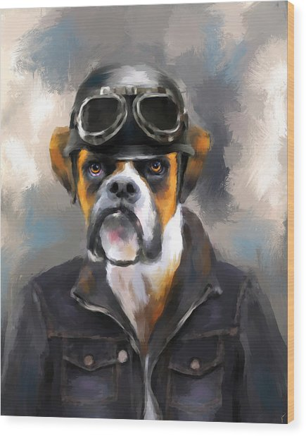 Chic Boxer Aviator Wood Print