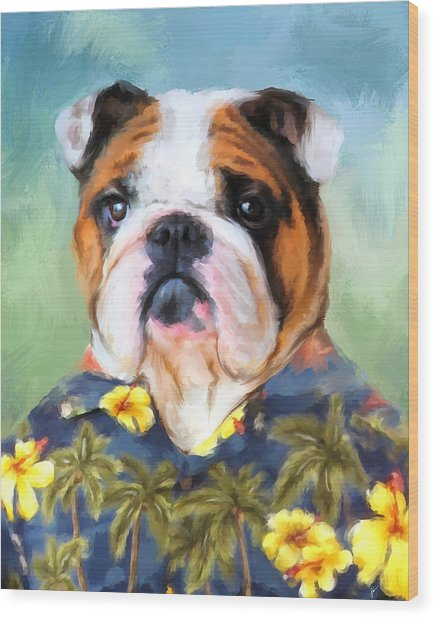 Chic English Bulldog Wood Print