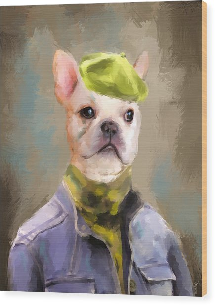 Chic French Bulldog Wood Print