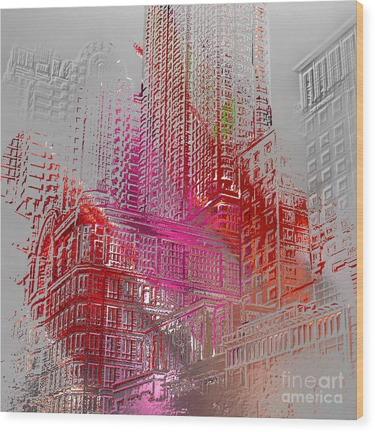 Chicago 2 Wood Print by Soumya Bouchachi
