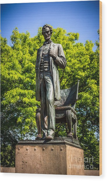 Chicago Abraham Lincoln The Man Standing Statue  Wood Print