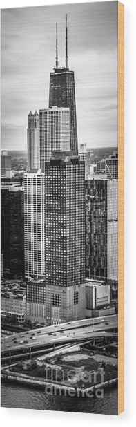 Chicago Aerial Vertical Panorama Photo Wood Print