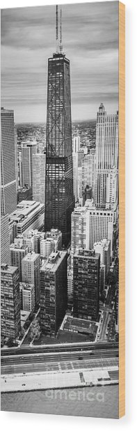 Chicago Aerial Vertical Panoramic Picture Wood Print
