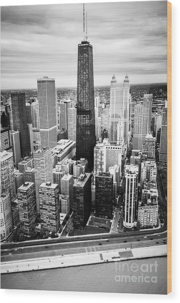 Chicago Aerial With Hancock Building In Black And White Wood Print