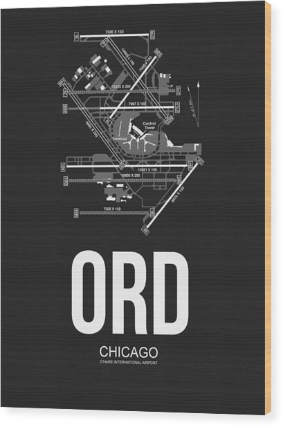 Chicago Airport Poster Wood Print