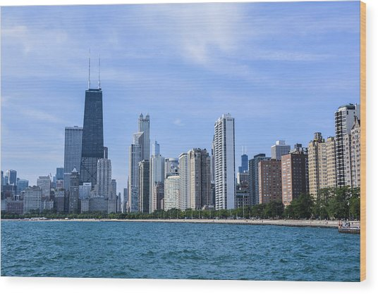Chicago As Seen From North Ave Beach Wood Print by Michael  Bennett
