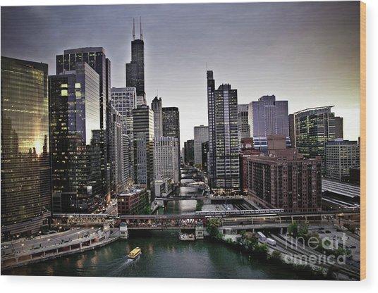 Chicago At Dusk Wood Print