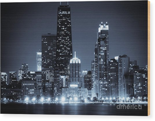 Chicago At Night With Hancock Building Wood Print
