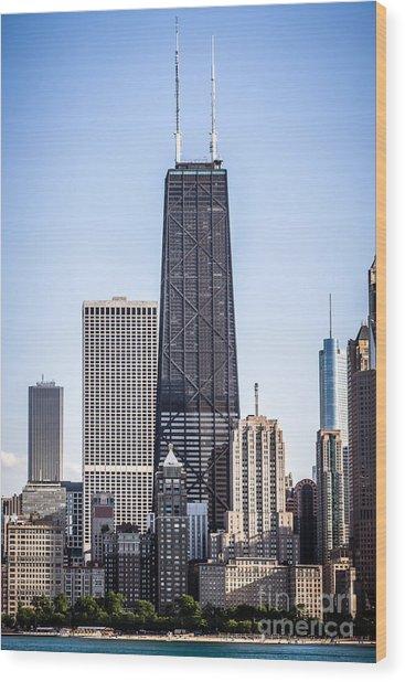 Chicago At Night With John Hancock Building Wood Print