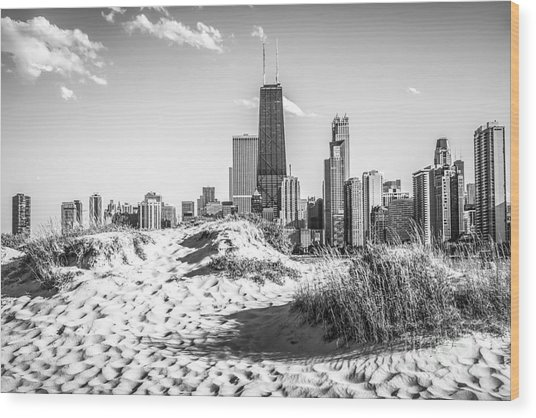 Chicago Beach And Skyline Black And White Photo Wood Print