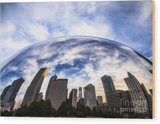 Chicago Bean Cloud Gate Skyline Wood Print