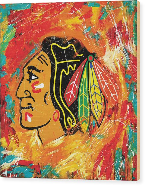 Chicago Blackhawks Logo Wood Print