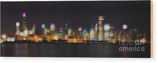 Chicago Bokeh Wood Print