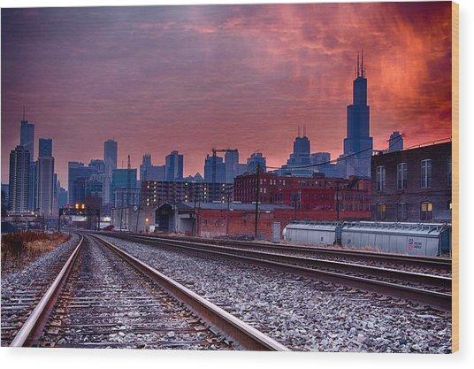 Chicago Bound 12-2-13 Sunrise  Wood Print by Michael  Bennett