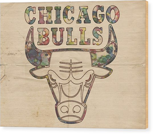 Chicago Bulls Logo Vintage Wood Print