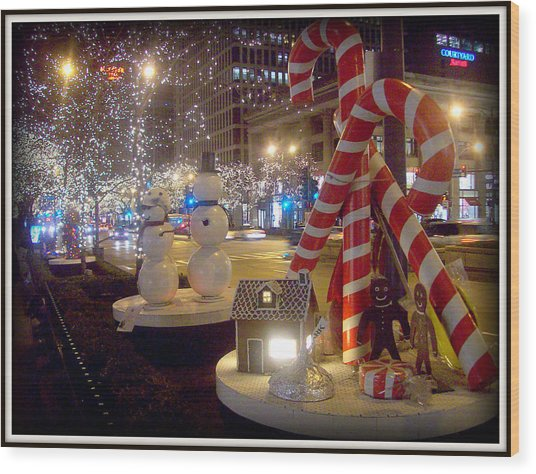Chicago Christmas Candy Canes Wood Print