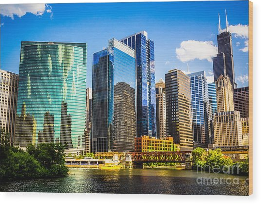 Chicago City Skyline Wood Print