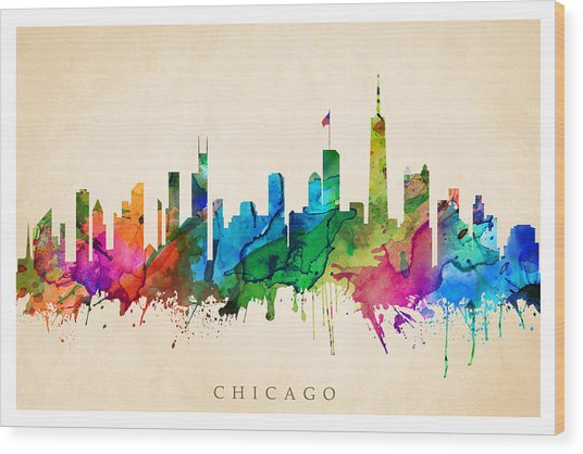 Chicago Cityscape Wood Print