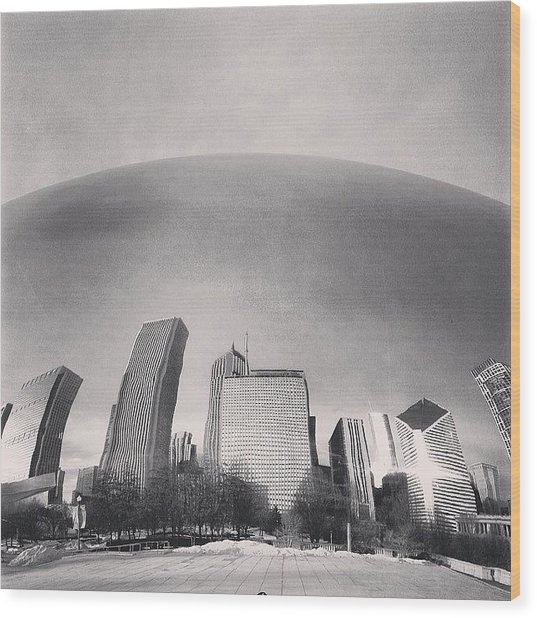 Cloud Gate Chicago Skyline Reflection Wood Print