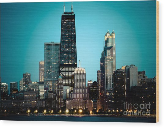 Chicago Downtown At Night With Hancock Building Wood Print