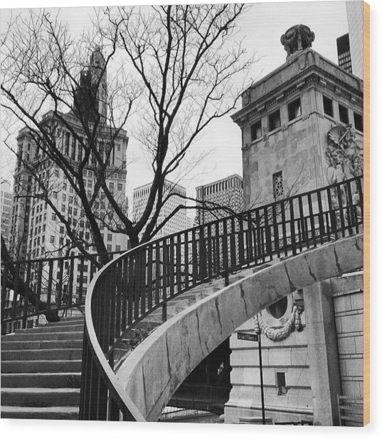 Chicago Staircase Black And White Picture Wood Print by Paul Velgos