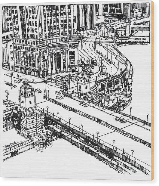 Chicago Downtown View Of Michigan Ave. And Wacker Dr. Wood Print