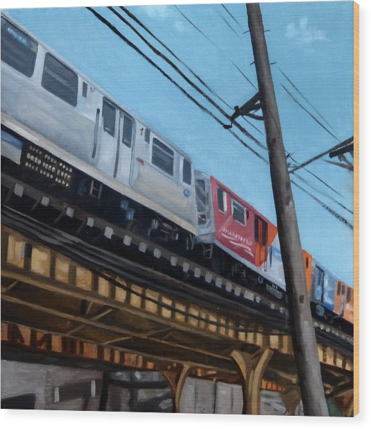 Chicago El Train Blue Line Wood Print