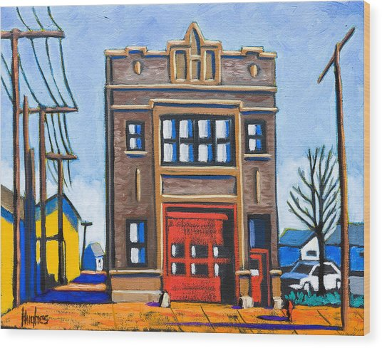 Chicago Fire Station Wood Print