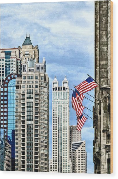 Chicago - Flags Along Michigan Avenue Wood Print by Susan Savad
