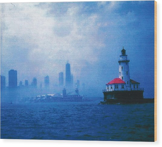 Chicago Fog Wood Print