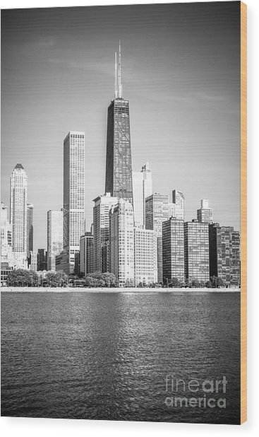 Chicago Hancock Building Black And White Picture Wood Print