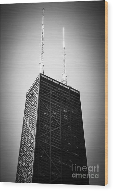 Chicago Hancock Building In Black And White Wood Print