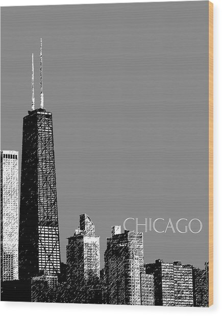 Chicago Hancock Building - Pewter Wood Print