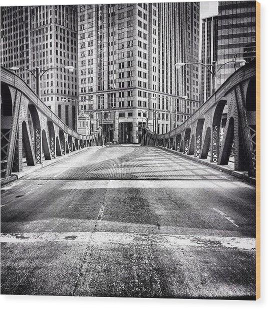 #chicago #hdr #bridge #blackandwhite Wood Print