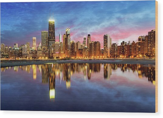 Chicago Wood Print by Joe Daniel Price