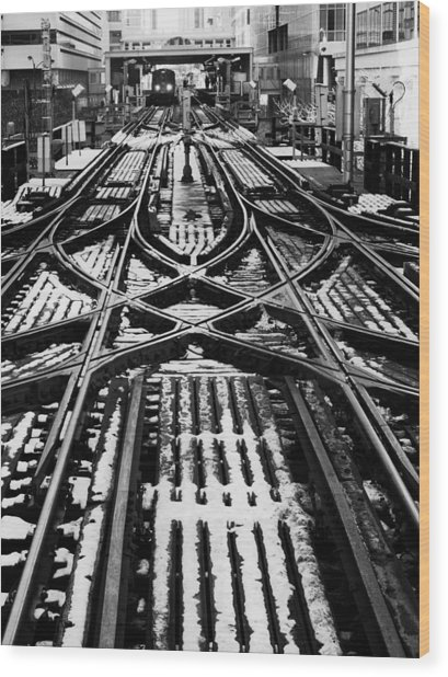 Chicago 'l' Tracks Winter Wood Print