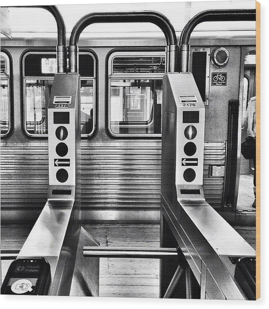 Chicago L Train Gate In Black And White Wood Print by Paul Velgos